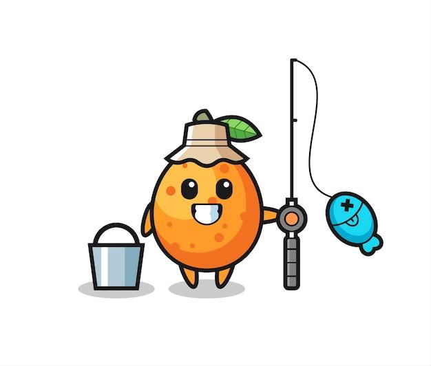 Personagem de mascote de kumquat como pescador, design de estilo fofo para camiseta, adesivo, elemento de logotipo