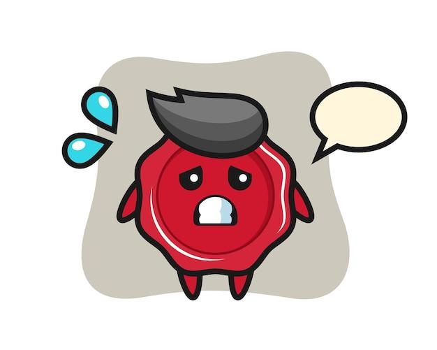 Personagem de mascote de lacre com gesto de medo