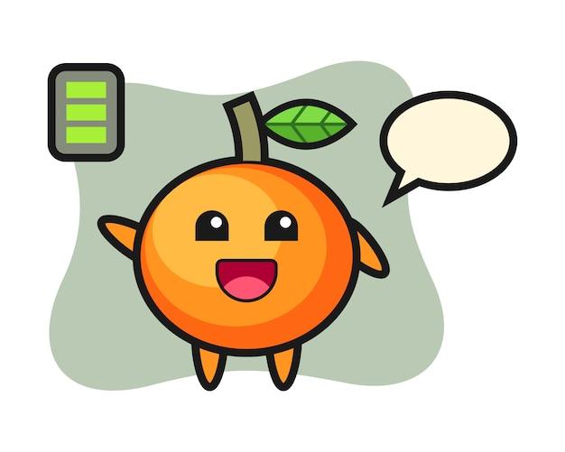 Personagem de mascote de laranja mandarim com gesto enérgico, estilo fofo, adesivo, elemento de logotipo