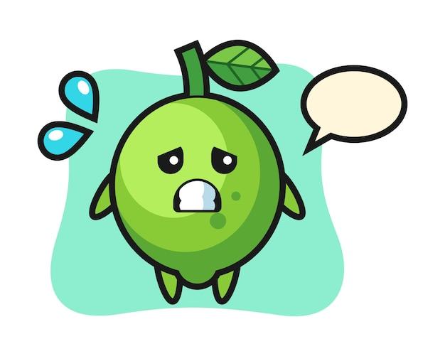 Personagem de mascote de limão com gesto de medo, estilo fofo, adesivo, elemento de logotipo