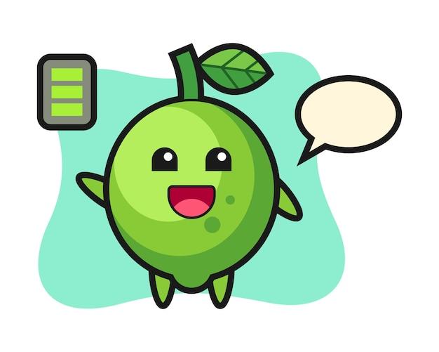 Personagem de mascote de limão com gesto enérgico, estilo fofo, adesivo, elemento de logotipo