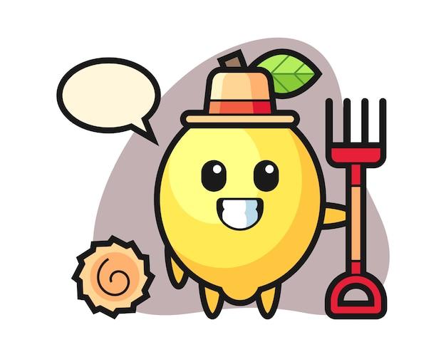 Personagem de mascote de limão como agricultor