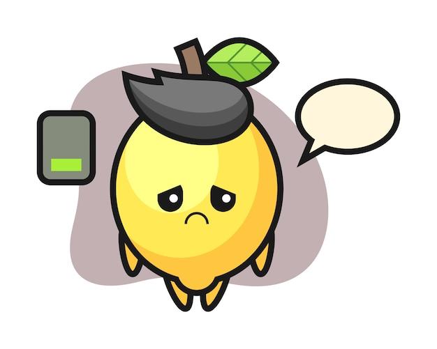 Personagem de mascote de limão, fazendo um gesto cansado