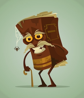 Personagem de mascote de livro antigo feliz e sorridente