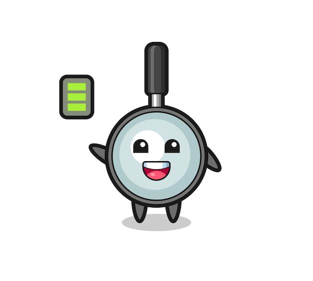 Personagem de mascote de lupa com gesto enérgico, design de estilo fofo para camiseta, adesivo, elemento de logotipo