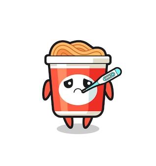 Personagem de mascote de macarrão instantâneo com febre, design de estilo fofo para camiseta, adesivo, elemento de logotipo