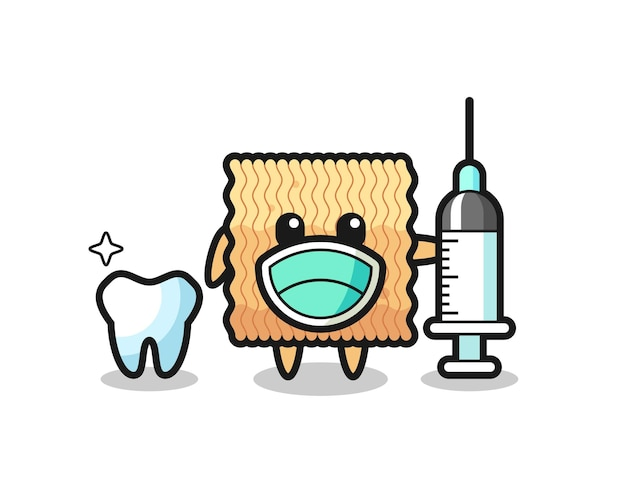 Personagem de mascote de macarrão instantâneo cru como dentista, design de estilo fofo para camiseta, adesivo, elemento de logotipo
