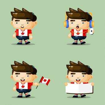 Personagem de mascote de menino bonito definido para o dia do canadá