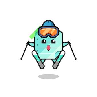 Personagem de mascote de notas adesivas azuis como jogador de esqui, design de estilo fofo para camiseta, adesivo, elemento de logotipo