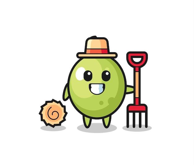 Personagem de mascote de oliva como agricultor, design de estilo fofo para camiseta, adesivo, elemento de logotipo
