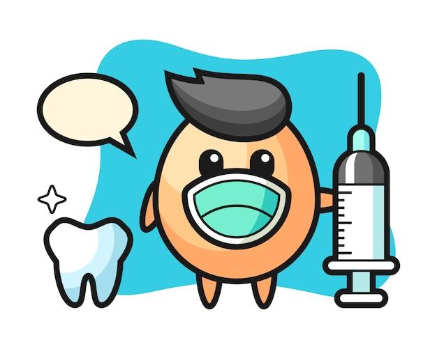 Personagem de mascote de ovo como dentista, design de estilo bonito para camiseta, adesivo, elemento de logotipo