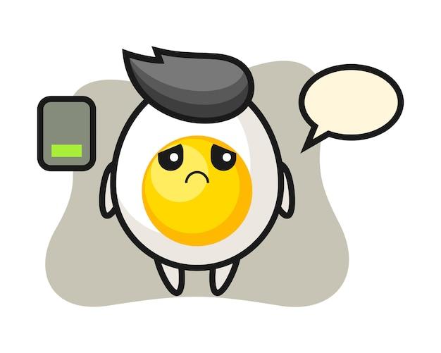 Personagem de mascote de ovo cozido, fazendo um gesto cansado