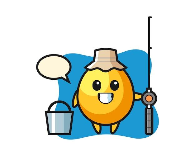 Personagem de mascote de ovo de ouro como um pescador, design de estilo bonito