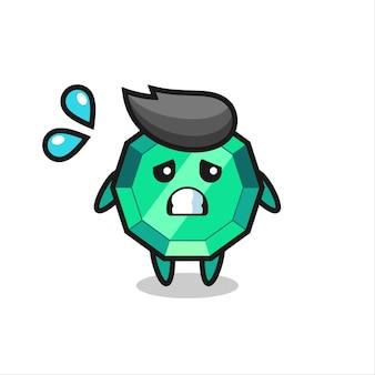 Personagem de mascote de pedra esmeralda com gesto de medo, design de estilo fofo para camiseta, adesivo, elemento de logotipo