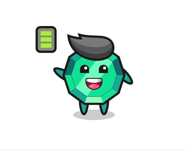 Personagem de mascote de pedra esmeralda com gesto enérgico, design de estilo fofo para camiseta, adesivo, elemento de logotipo