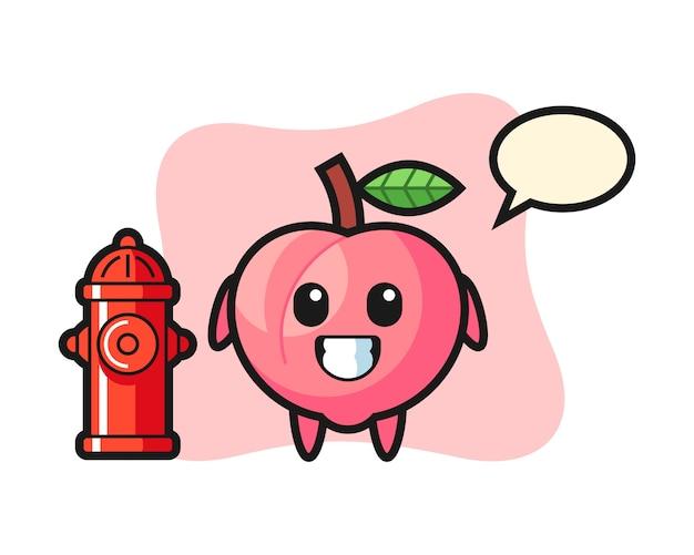 Personagem de mascote de pêssego como bombeiro, design de estilo bonito para camiseta