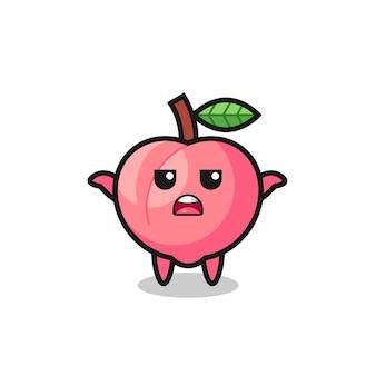 Personagem de mascote de pêssego dizendo não sei, design de estilo fofo para camiseta, adesivo, elemento de logotipo