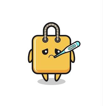 Personagem de mascote de sacola de compras com quadro de febre, design de estilo fofo para camiseta, adesivo, elemento de logotipo
