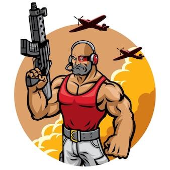 Personagem de mascote de soldado musculoso