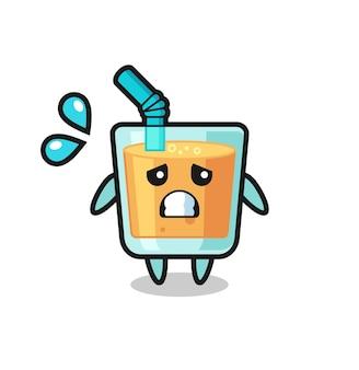 Personagem de mascote de suco de laranja com gesto de medo, design de estilo fofo para camiseta, adesivo, elemento de logotipo