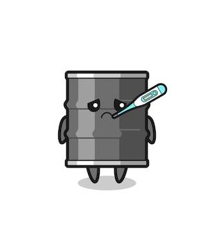 Personagem de mascote de tambor de óleo com febre, design bonito