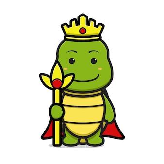 Personagem de mascote de tartaruga rei bonito segurando ilustração de ícone de vetor de desenhos animados de equipe. design isolado no branco. estilo liso dos desenhos animados.