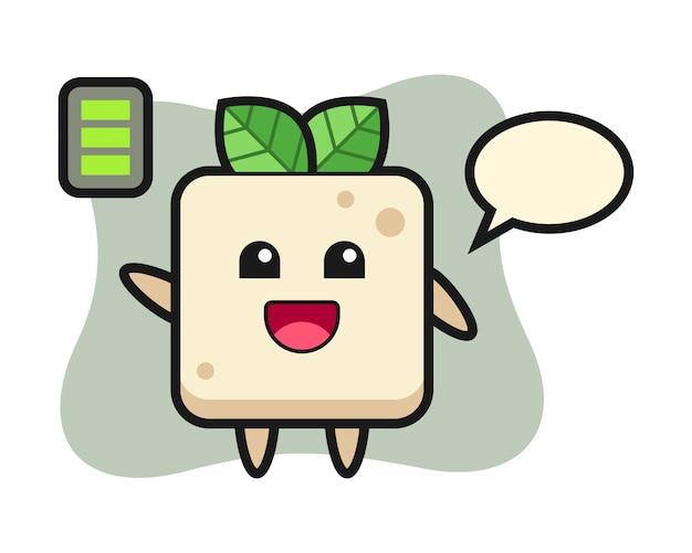 Personagem de mascote de tofu com gesto energético, design de estilo bonito para camiseta