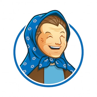 Personagem de mascote de vovó com modelo de logotipo de véu