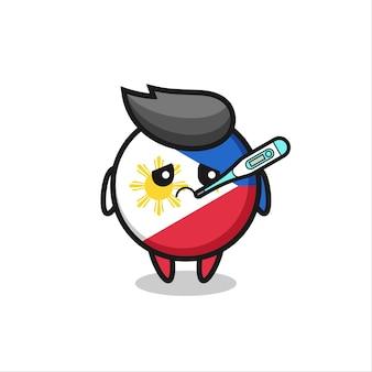 Personagem de mascote distintivo de bandeira de filipinas com quadro de febre, design de estilo fofo para camiseta, adesivo, elemento de logotipo