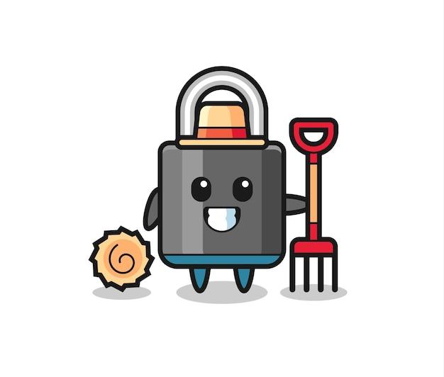 Personagem de mascote do cadeado como agricultor, design de estilo fofo para camiseta, adesivo, elemento de logotipo