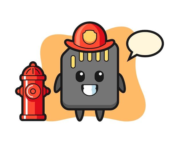 Personagem de mascote do cartão sd como um bombeiro, design de estilo bonito para camiseta