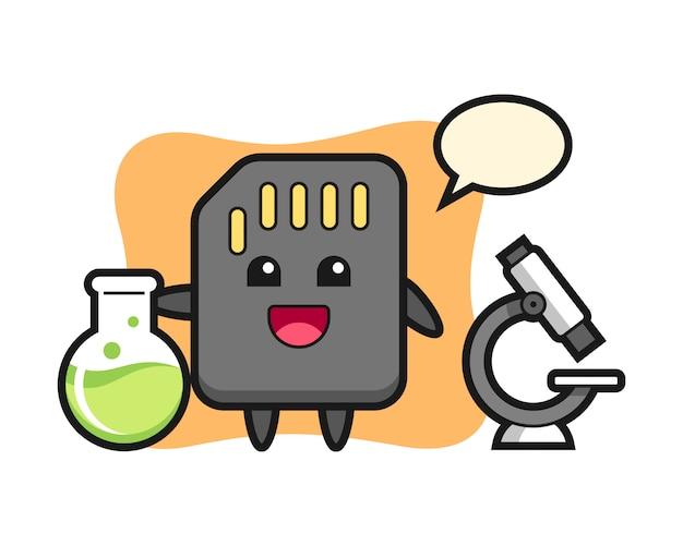 Personagem de mascote do cartão sd como um cientista, design de estilo bonito para camiseta