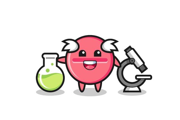 Personagem de mascote do comprimido de medicina como um cientista, design fofo