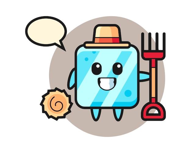 Personagem de mascote do cubo de gelo como fazendeiro