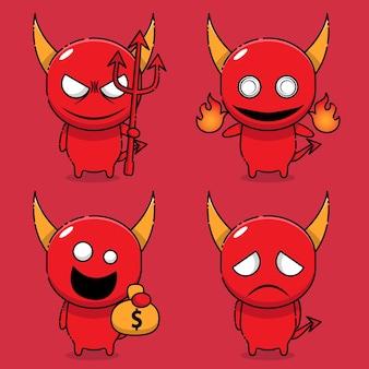 Personagem de mascote do demônio fofo