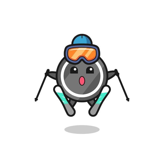 Personagem de mascote do disco de hóquei como jogador de esqui, design de estilo fofo para camiseta, adesivo, elemento de logotipo