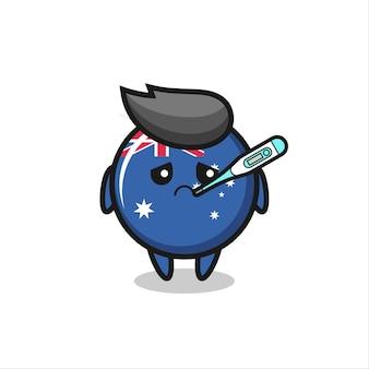 Personagem de mascote do distintivo da bandeira da austrália com quadro de febre, design de estilo fofo para camiseta, adesivo, elemento de logotipo