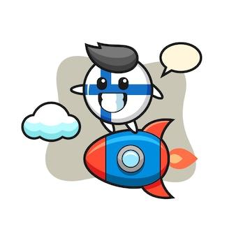 Personagem de mascote do distintivo da bandeira da finlândia montando um foguete, design de estilo fofo para camiseta, adesivo, elemento de logotipo