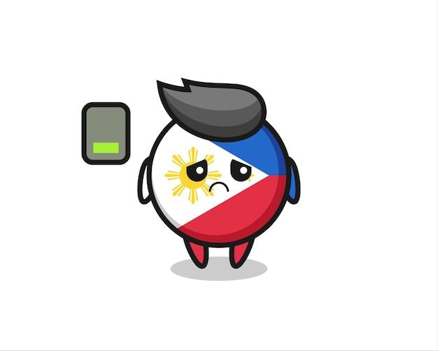 Personagem de mascote do distintivo da bandeira das filipinas fazendo um gesto cansado, design de estilo fofo para camiseta, adesivo, elemento de logotipo