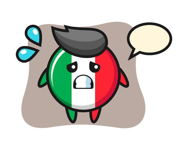 Personagem de mascote do distintivo de bandeira da itália com gesto de medo, estilo fofo, adesivo, elemento de logotipo