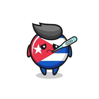 Personagem de mascote do distintivo de bandeira de cuba com quadro de febre, design de estilo fofo para camiseta, adesivo, elemento de logotipo