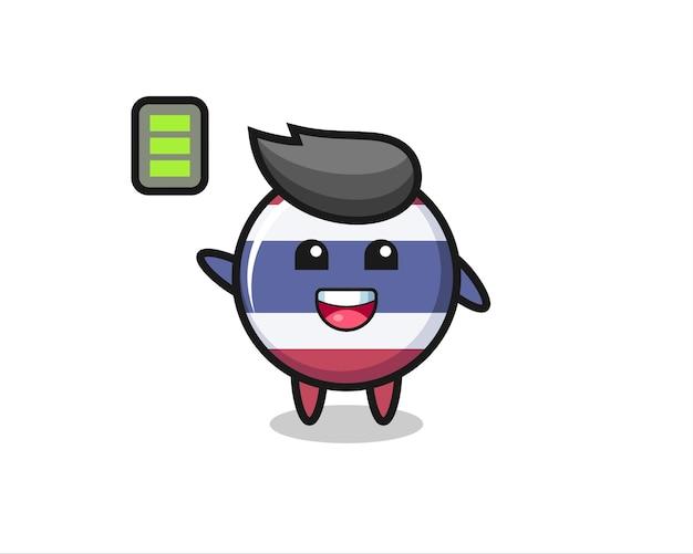 Personagem de mascote do emblema da bandeira da tailândia com gesto enérgico, design de estilo fofo para camiseta, adesivo, elemento de logotipo