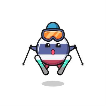 Personagem de mascote do emblema da bandeira da tailândia como jogador de esqui, design de estilo fofo para camiseta, adesivo, elemento de logotipo