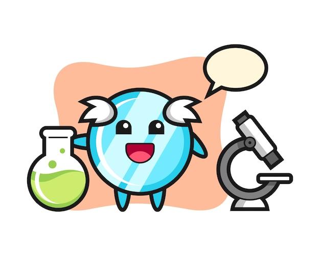 Personagem de mascote do espelho como um cientista