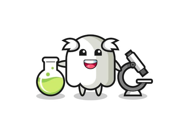 Personagem de mascote do fantasma como um cientista, design de estilo fofo para camiseta, adesivo, elemento de logotipo