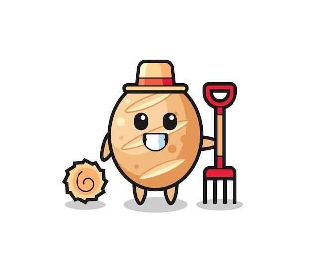 Personagem de mascote do pão francês como agricultor, design fofo