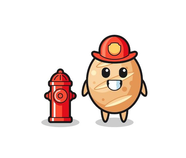 Personagem de mascote do pão francês como bombeiro, design fofo