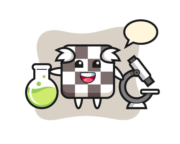 Personagem de mascote do tabuleiro de xadrez como um cientista, design de estilo fofo para camiseta, adesivo, elemento de logotipo