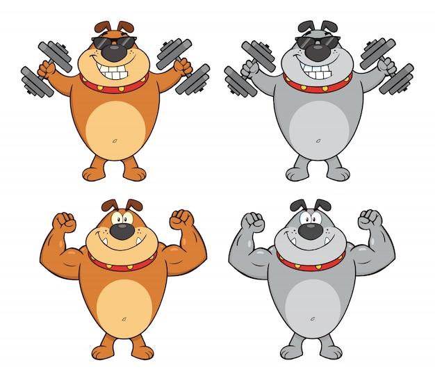 Personagem de mascote dos desenhos animados de buldogue