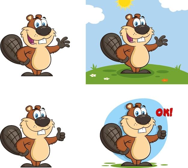 Personagem de mascote dos desenhos animados de castor.